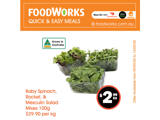 Baby Spniach, Rocket, & Mesculin Salad Mixes - Essential Item, FoodWorks Clovelly - 1