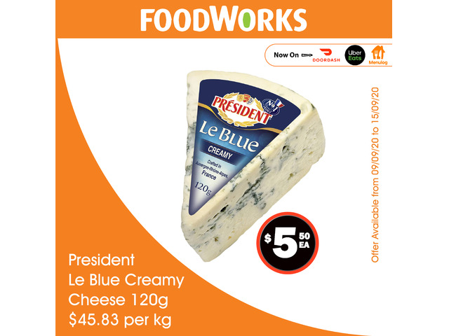 President Le Blue Creamy Cheese - Essential Item, FoodWorks Clovelly - 1