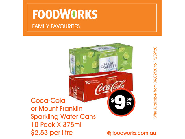 Coca-Cola or Mount Franklin Sparkling Water Cans - Essential Item, FoodWorks Clovelly - 1