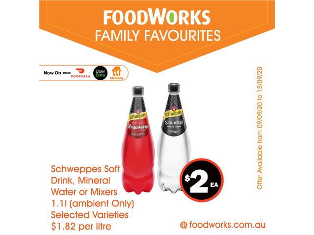 Schweppes Soft Drink, Mineral Water or Mixers - Essential Item, FoodWorks Clovelly - 1