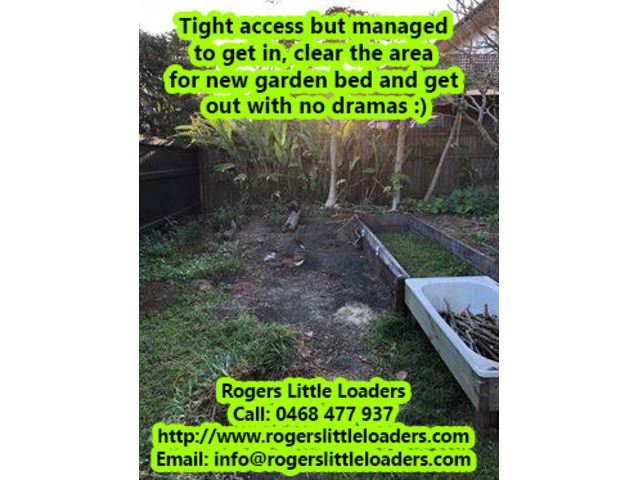 Tight Access Projects - Rogers Little Loaders. - 2