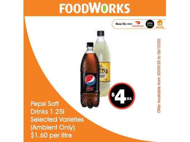 Pepsi Soft Drinks - Essential Item, FoodWorks Clovelly - 1