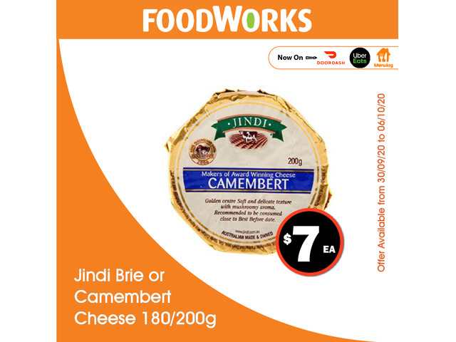 Jindi Brie or Camembert Cheese - Essential Item, FoodWorks Clovelly - 1