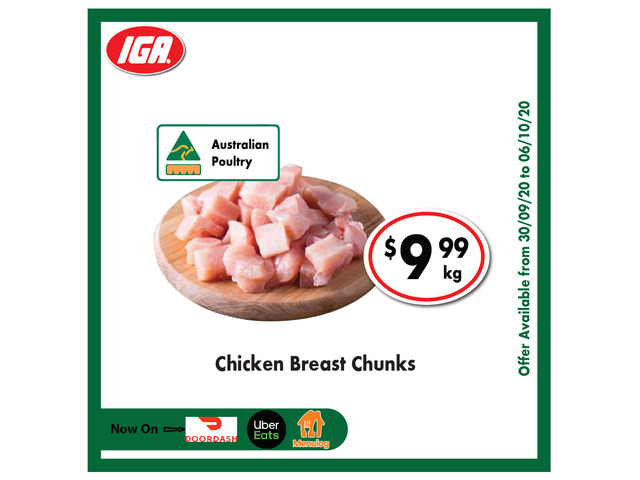 Chicken Breast Chunks - Grocery Item, IGA Ravenswood - 1