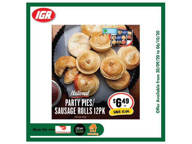 National Party PIes Sausage Rolls - Grocery Item, IGA Ravenswood - 1