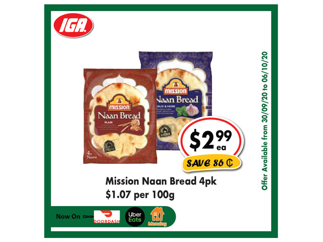 Mission Naan Bread - Grocery Item, IGA Ravenswood - 1