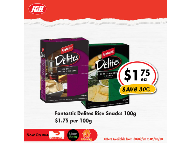 Fantastic Delites Rice Snacks - Grocery Item, IGA Ravenswood - 1