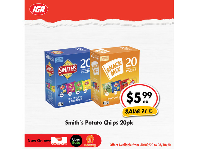 Smith's Potato Chips - Grocery Item, IGA Ravenswood - 1