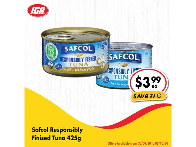 Safcol Responsibily Finished Tuna - Grocery Item, IGA Ravenswood - 1
