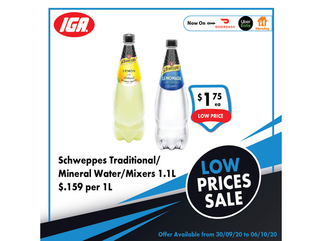 Schweppes Traditional/Mineral Water/Mixers - Grocery Item, IGA Ravenswood - 1