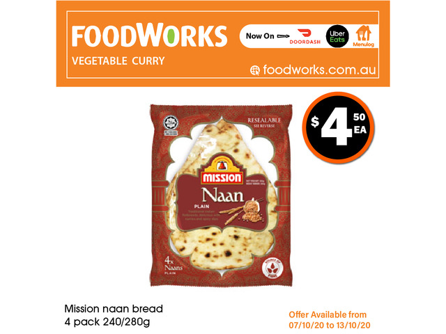 Mission Naan Bread - Essential Item, FoodWorks Clovelly - 1