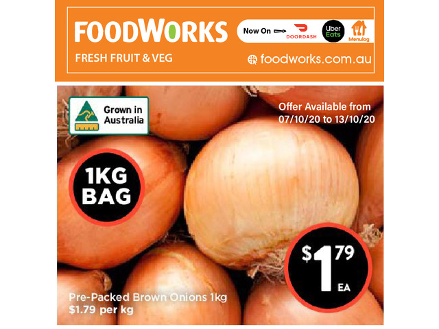 Pre-Packed Brown Onions - Essential Item, FoodWorks Clovelly - 1