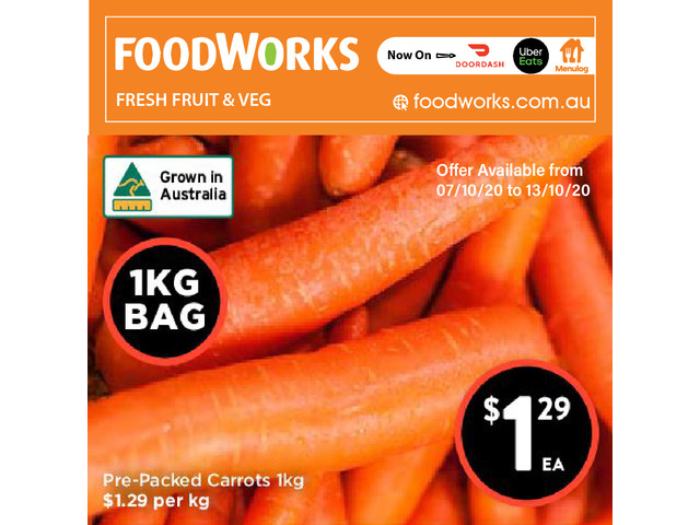 Pre-Packed Carrots - Essential Item, FoodWorks Clovelly - 1