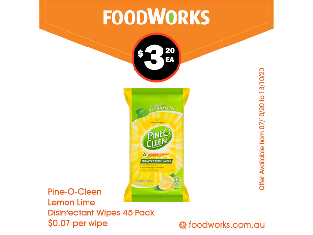 Pine-O-Cleen Lemon Lime Disinfectant Wipes - Essential Item, FoodWorks Clovelly - 1