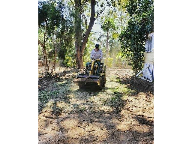 Landscaping using Rogers Little Loaders machinery on June 14 at Nundah, Queensland. - 1