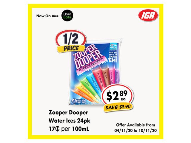 Zooper Dooper Water Ices - Grocery Item, IGA Ravenswood - 1