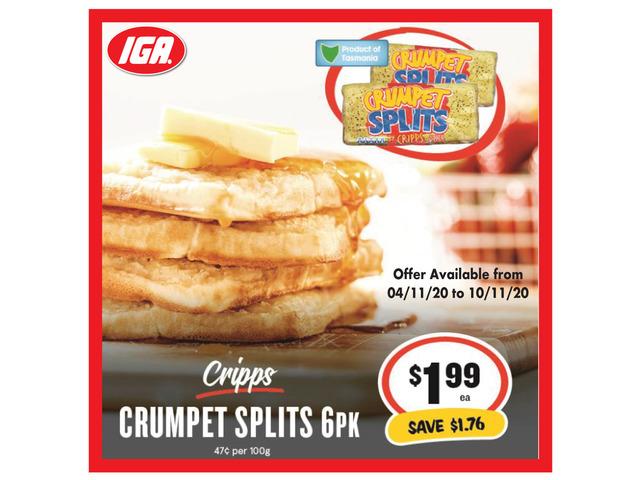 Cripps Crumpet Splits - Grocery Item, IGA Ravenswood - 1