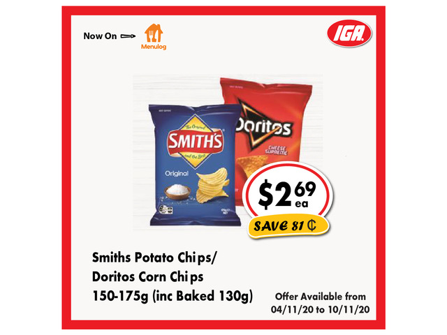 Smith's Potato Chips/Doritos Corn Chips - Grocery Item, IGA Ravenswood - 1