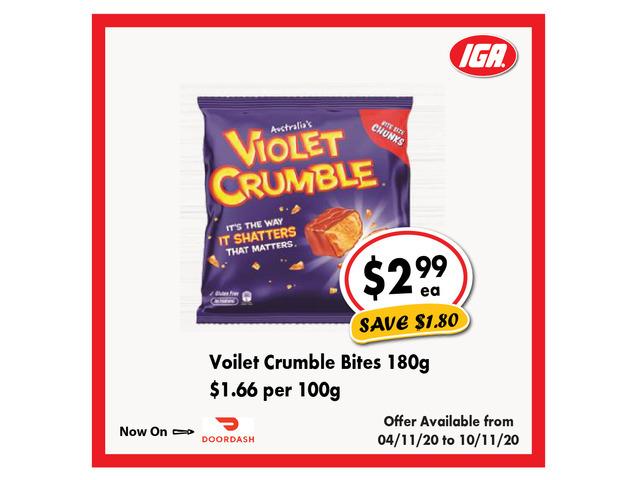 Voilet Crumble Bites - Grocery Item, IGA Ravenswood - 1