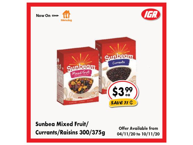 Sunbea Mixed Fruit/Currants/Raisins - Grocery Item, IGA Ravenswood - 1