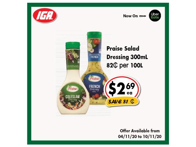 Prasie Salad Dressing - Grocery Item, IGA Ravenswood - 1