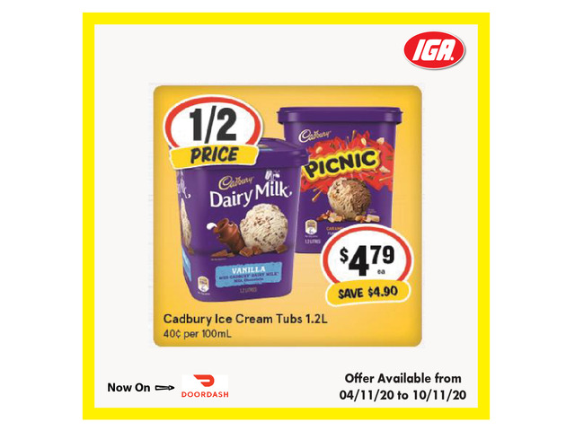 Cadbury Ice Cream Tubs - Grocery Item, IGA Ravenswood - 1