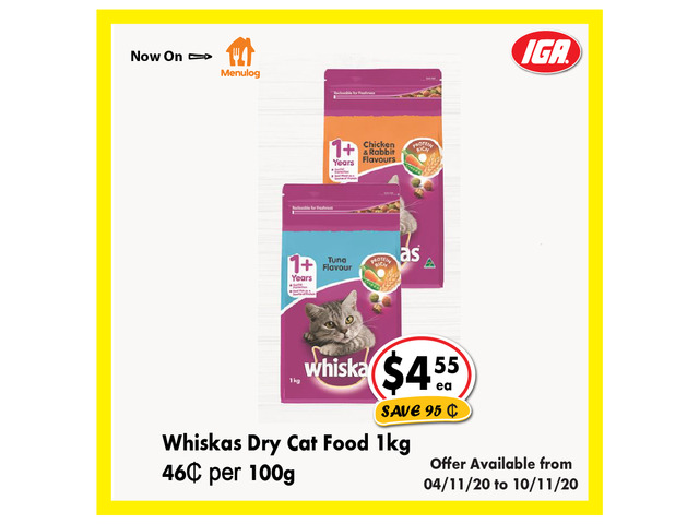 Whiskas Dry Cat Food - Grocery Item, IGA Ravenswood - 1