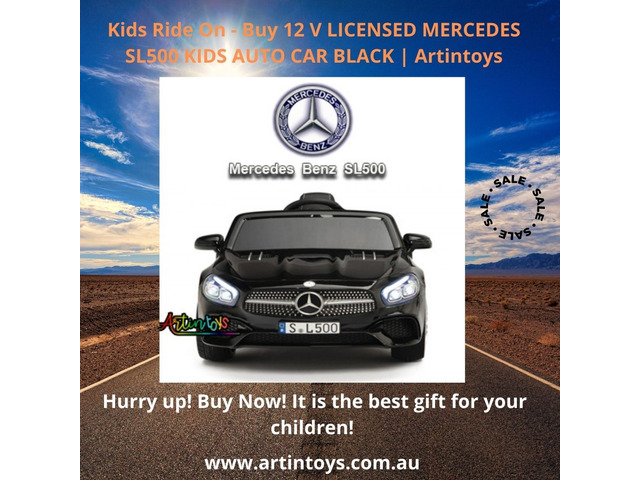 Kids Ride On - Buy 12 V LICENSED MERCEDES SL500 KIDS AUTO CAR BLACK | Artintoys - 1