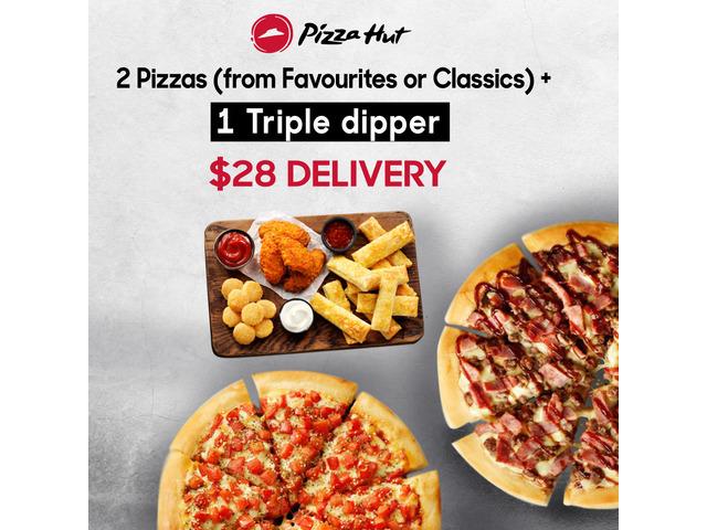 2 Pizzas + 1 Triple dipper On Sale Pizza Hut Moorebank - 1