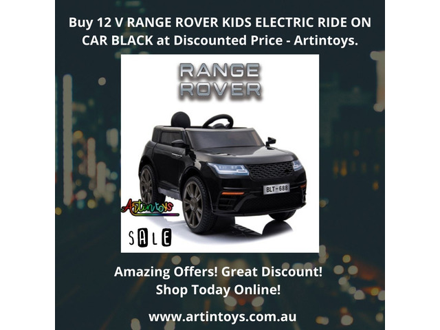 Buy 12 V RANGE ROVER KIDS ELECTRIC RIDE ON CAR BLACK at Discounted Price - Artintoys. - 1