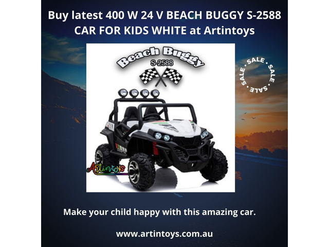 Buy latest 400 W 24 V BEACH BUGGY S-2588 CAR FOR KIDS WHITE at Artintoys - 1