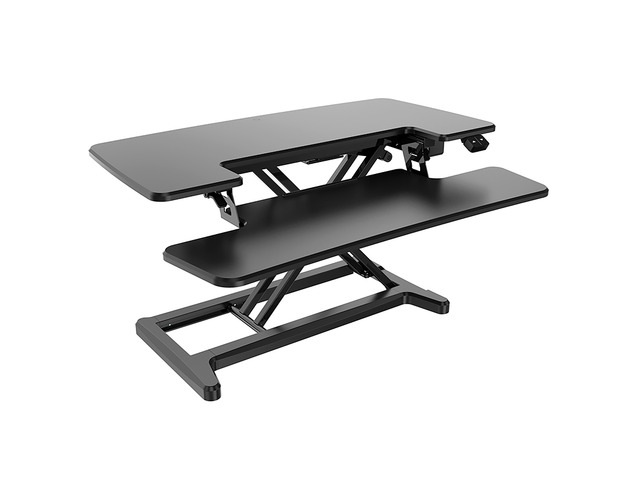 High Rise Electric Height Adjustable Desk Top Stand, Black - 1
