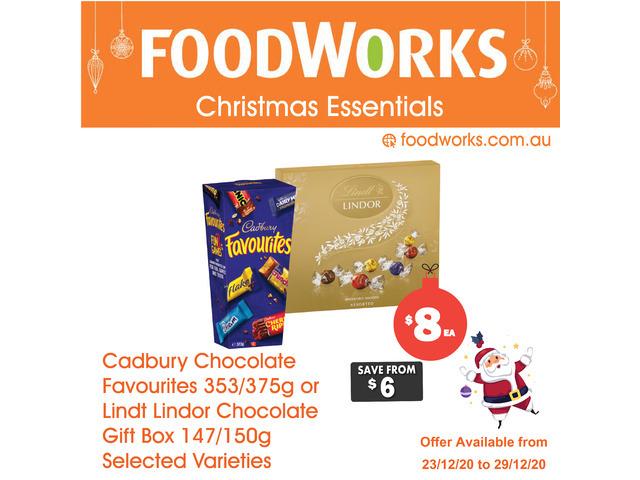 Cadbury Chocolate Favourites or Lindt Lindor Chocolate  - Essential Item, FoodWorks Clovelly - 1