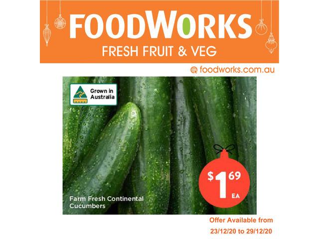 Farm Fresh Continental Cucumbers  - Essential Item, FoodWorks Clovelly - 1