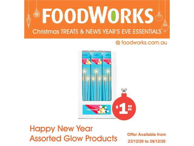Happy New Year Assorted Glow Products - Essential Item, FoodWorks Clovelly - 1