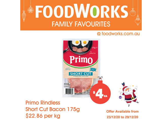 Primo Rindless Short Cut Bacon - Essential Item, FoodWorks Clovelly - 1