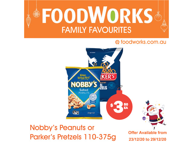 Nobby's Peanuts or Parker's Pretzels  - Essential Item, FoodWorks Clovelly - 1