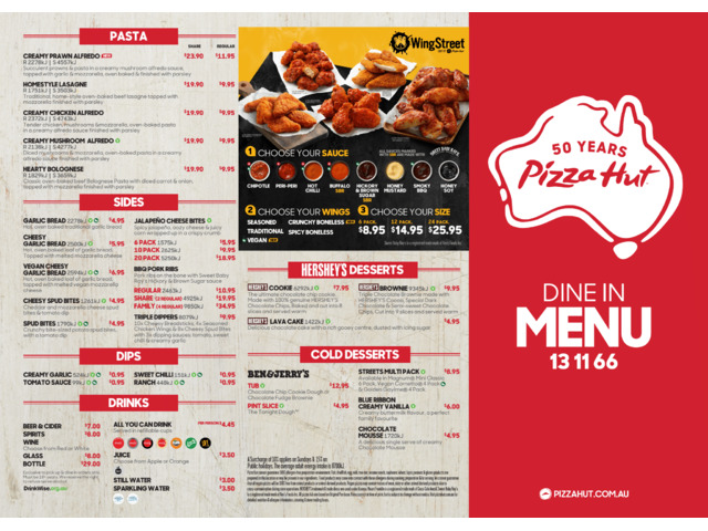 Dine In Menu Offer From Pizza Hut Orange - 1
