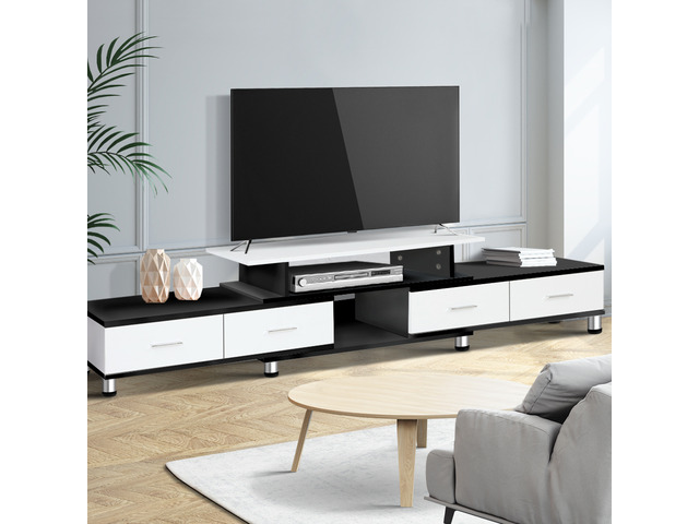 Artiss TV Cabinet Entertainment Unit Stand Wooden 160CM To 220CM Storage Drawers Black White - 1