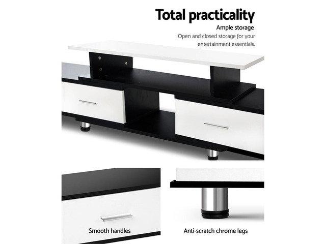 Artiss TV Cabinet Entertainment Unit Stand Wooden 160CM To 220CM Storage Drawers Black White - 2