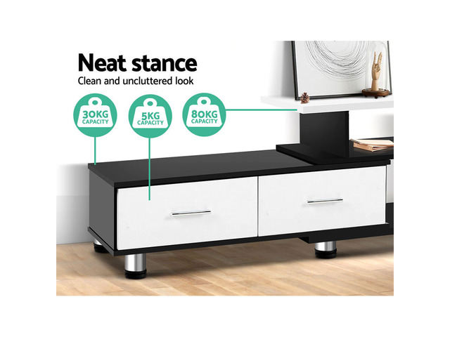 Artiss TV Cabinet Entertainment Unit Stand Wooden 160CM To 220CM Storage Drawers Black White - 4