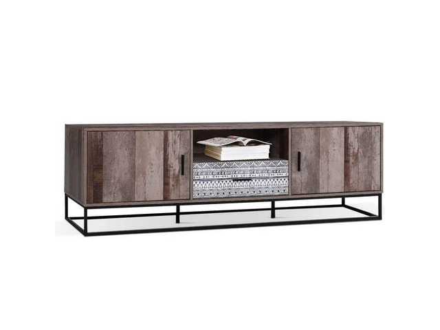 Artiss TV Cabinet Entertainment Unit Stand Storage Wooden Industrial Rustic 180cm - 1