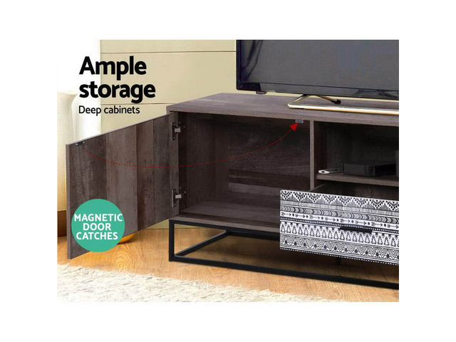 Artiss TV Cabinet Entertainment Unit Stand Storage Wooden Industrial Rustic 180cm - 2