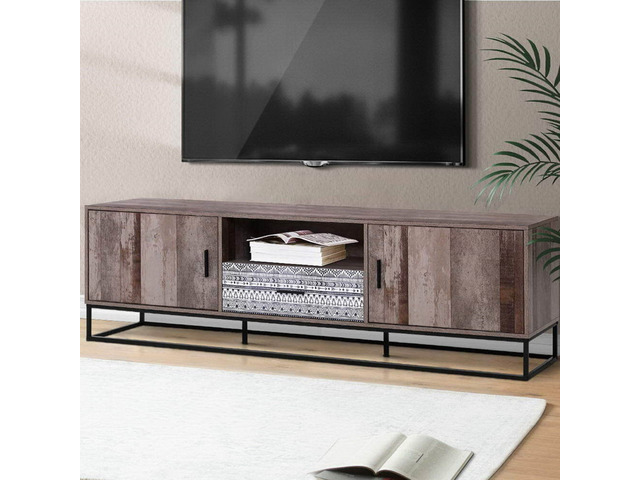 Artiss TV Cabinet Entertainment Unit Stand Storage Wooden Industrial Rustic 180cm - 3