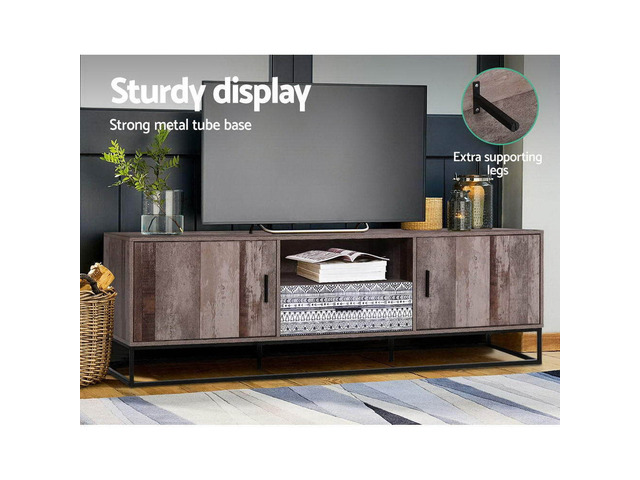 Artiss TV Cabinet Entertainment Unit Stand Storage Wooden Industrial Rustic 180cm - 4