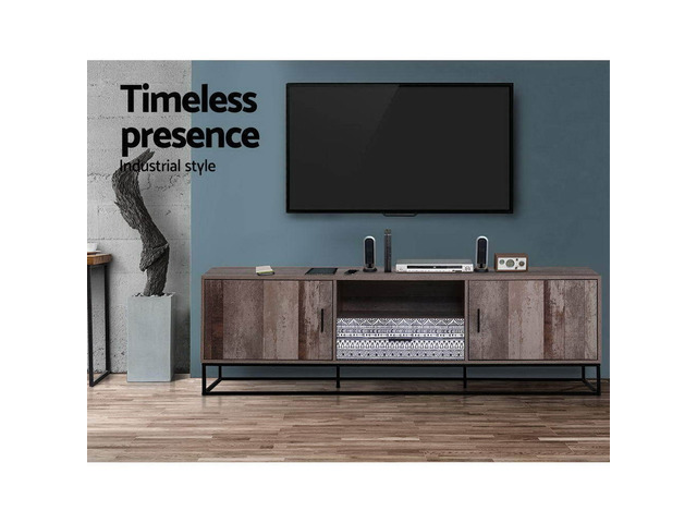 Artiss TV Cabinet Entertainment Unit Stand Storage Wooden Industrial Rustic 180cm - 7