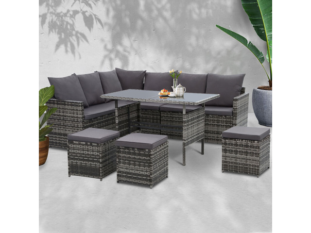 Gardeon Outdoor Furniture Dining Setting Sofa Set Lounge Wicker 9 Seater Mixed Grey - 1