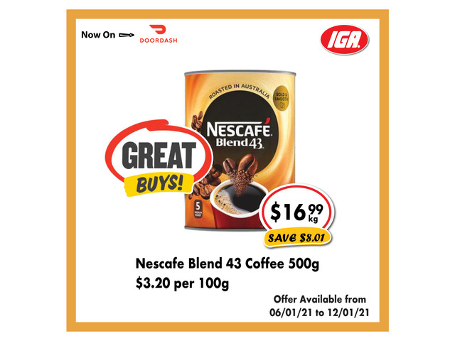 Nescafé Blend 43 Coffee  at IGA Ravenswood - 1