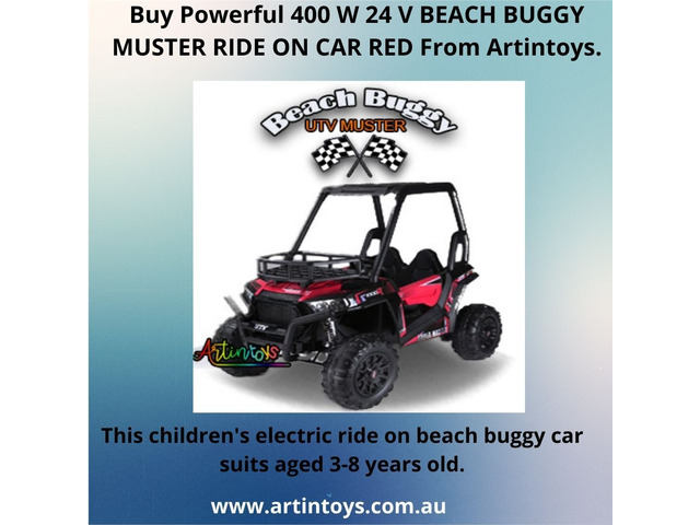 Children Electric Cars |Buy Powerful 400 W 24 V BEACH BUGGY MUSTER RIDE ON CAR RED From Artintoys. - 1