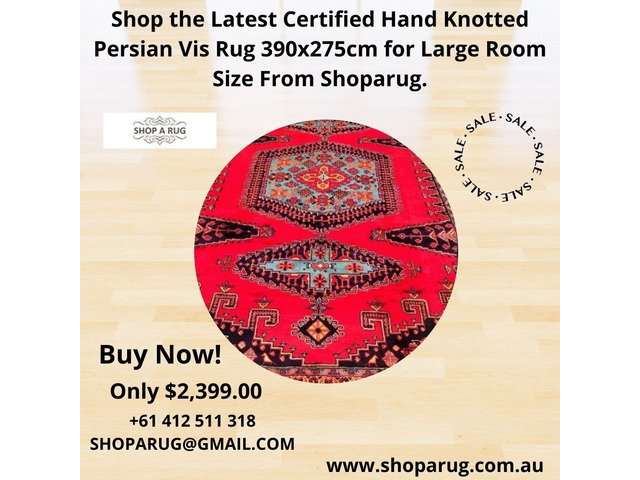 Shop the Latest Certified Hand Knotted Persian Vis Rug 390x275cm for Large Room Size From Shoparug. - 1